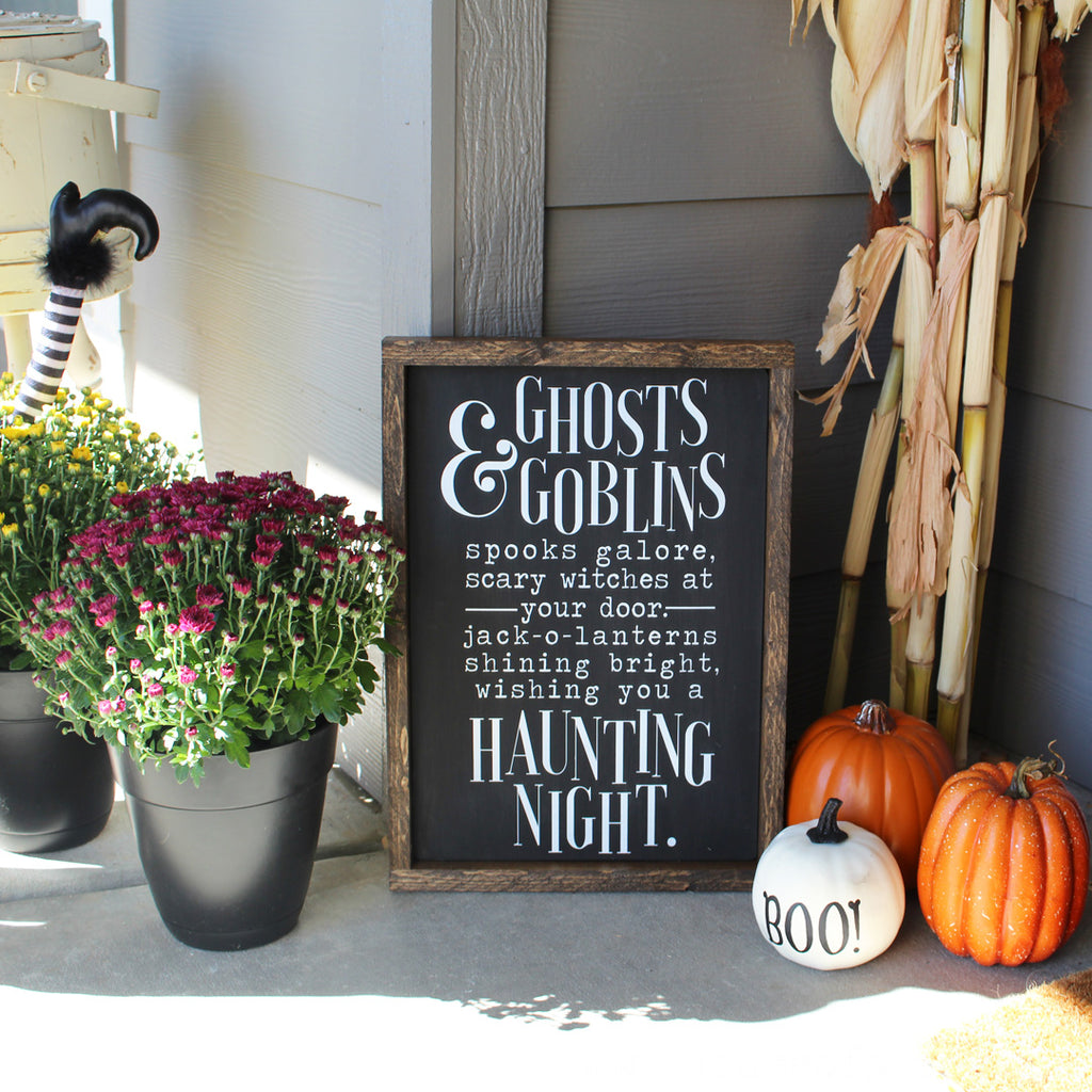 Halloween, Ghosts & Goblins, Hand Painted Wooden Sign | 12 x 16