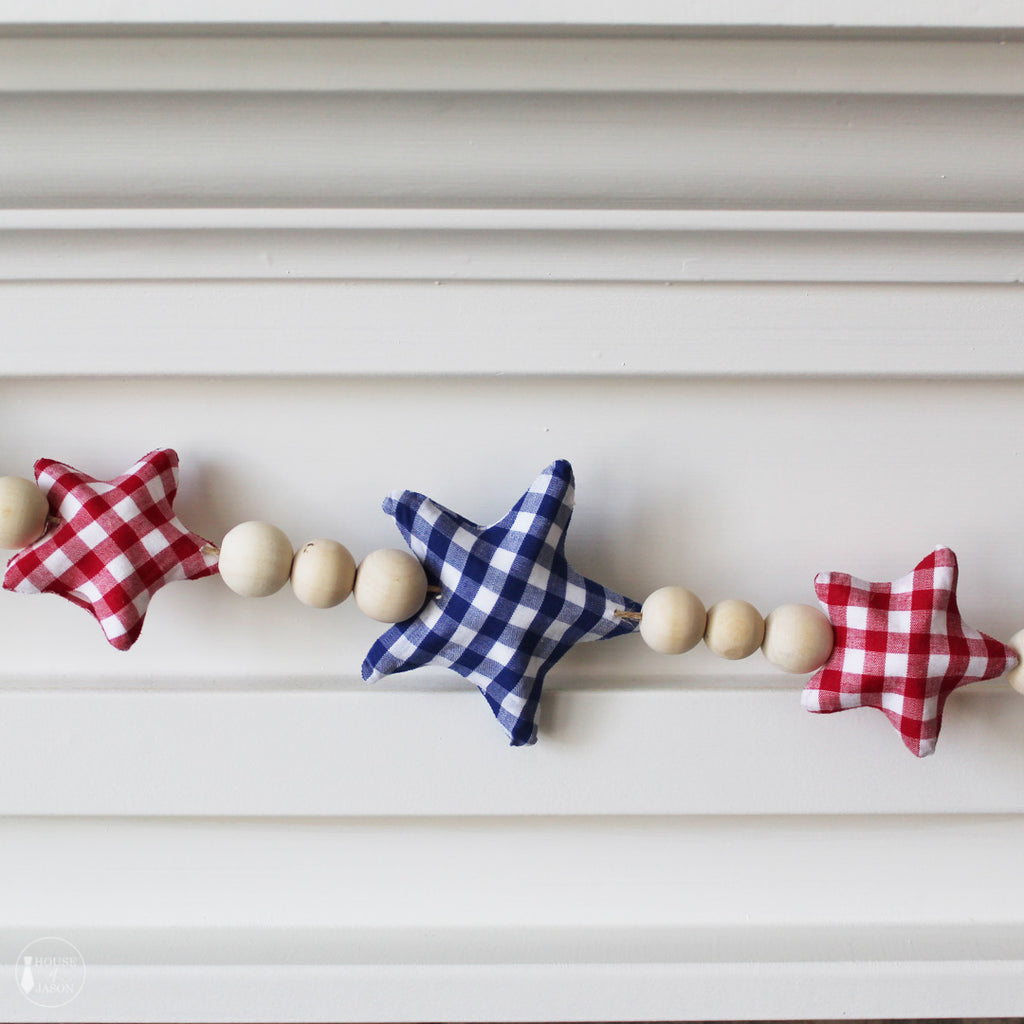 Red and Blue Gingham Patterned Star Garland
