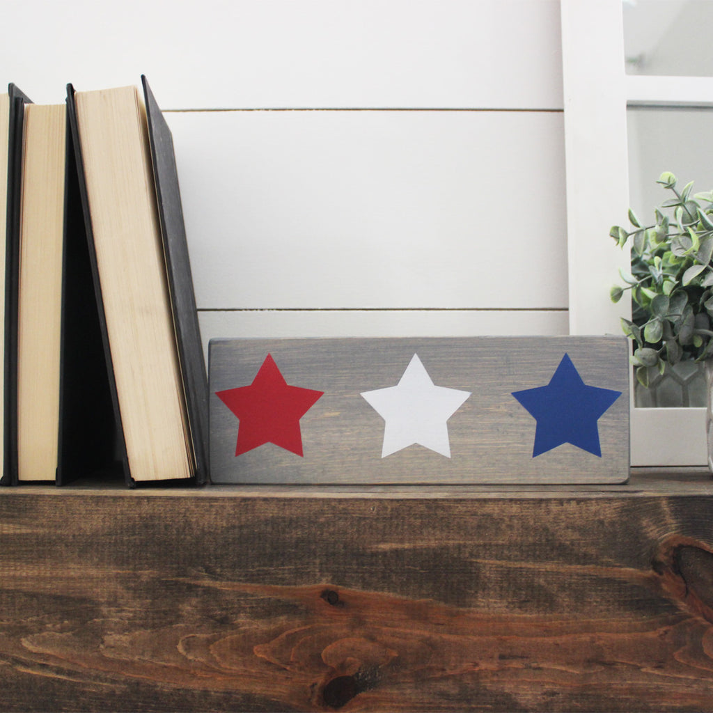 Patriotic, 4th of July, Red, White, and Blue Stars, Hand Painted Wooden Sign | 4 x 10