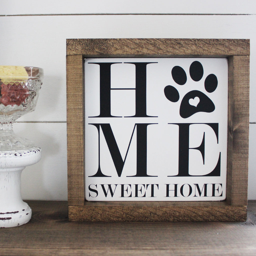 Home Sweet Home Paw Print, Hand Painted Wooden Sign | 8 x 8