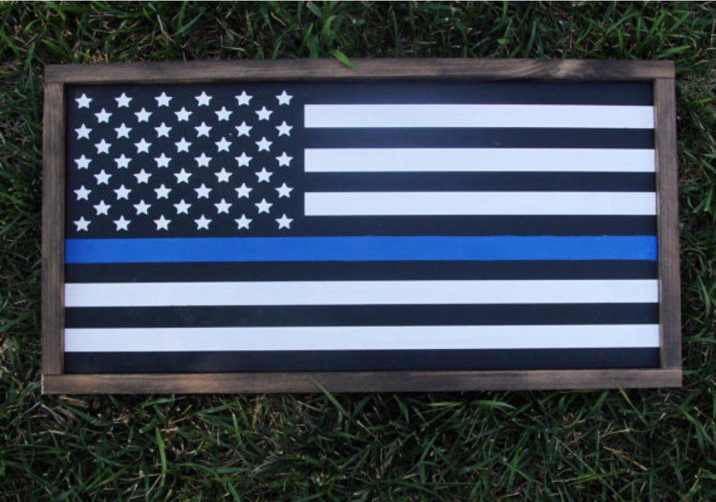 Blue Line, Police Flag, Hand Painted Wooden Sign | 24 x 13