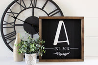 Personalized Initial + Est. Year Wooden Sign (black with white) | 12 x 12