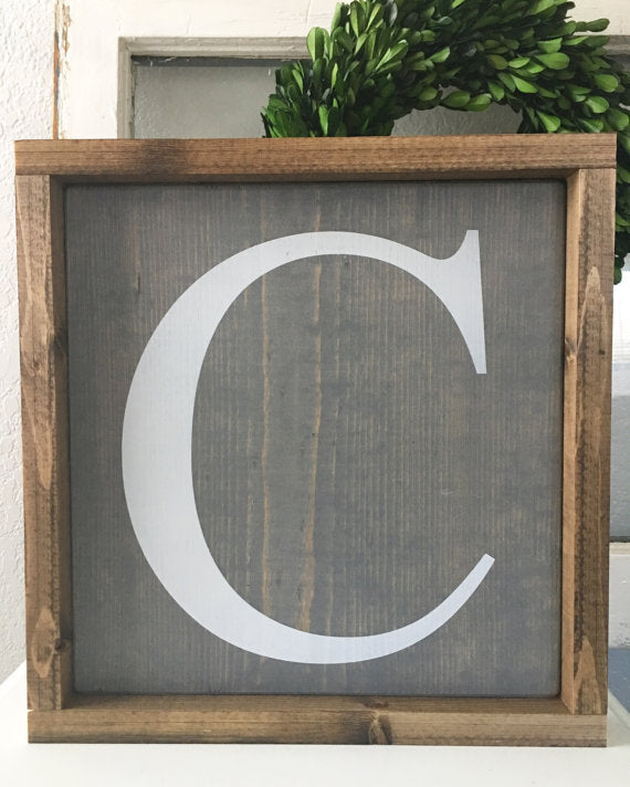 Personalized Initial, Wedding, Family, Gift Idea, Hand Painted Wooden Sign | 12 x 12