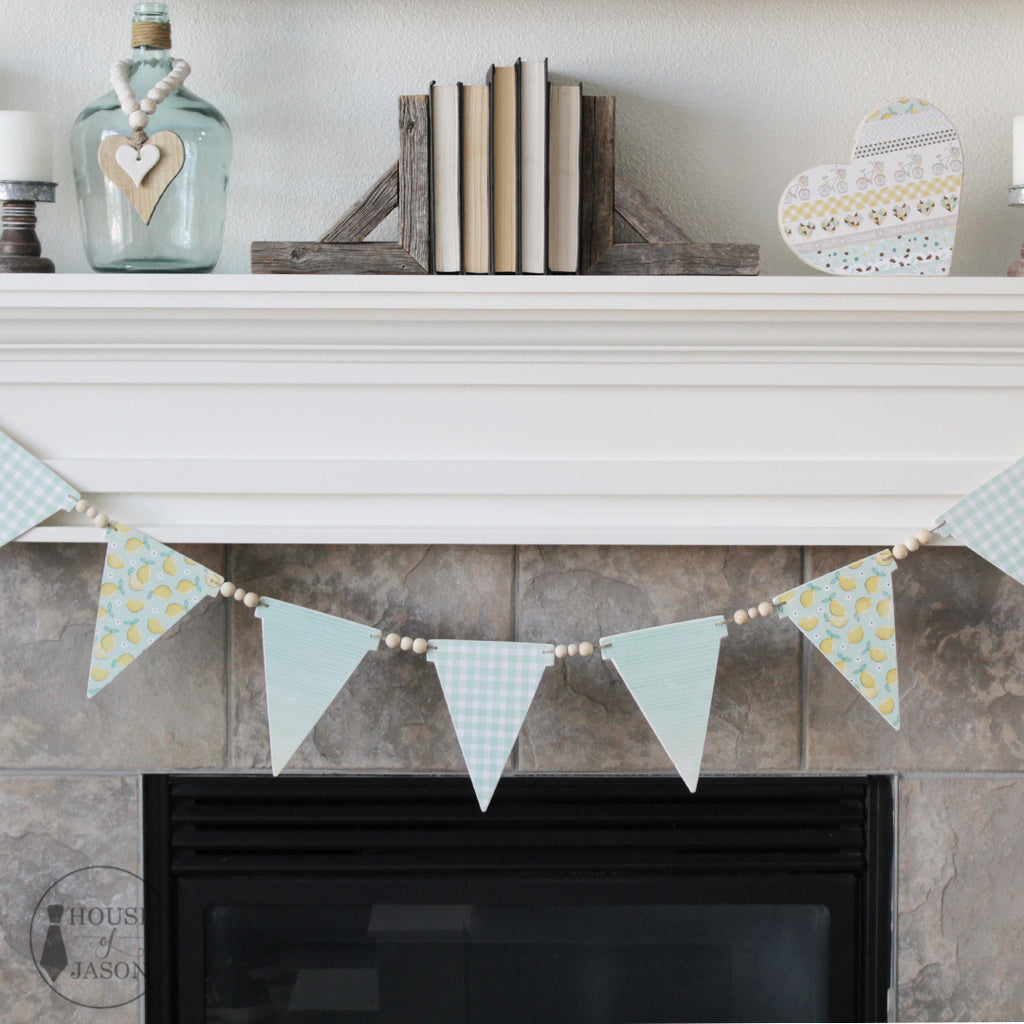 Pastel Green + Lemon Wooden Banner