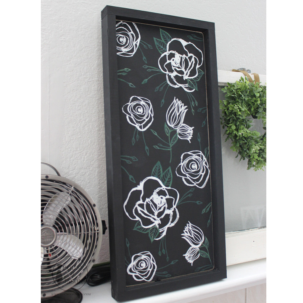 Black on Black Whimsical Flower, Hand Painted Wooden Sign 10 x 24
