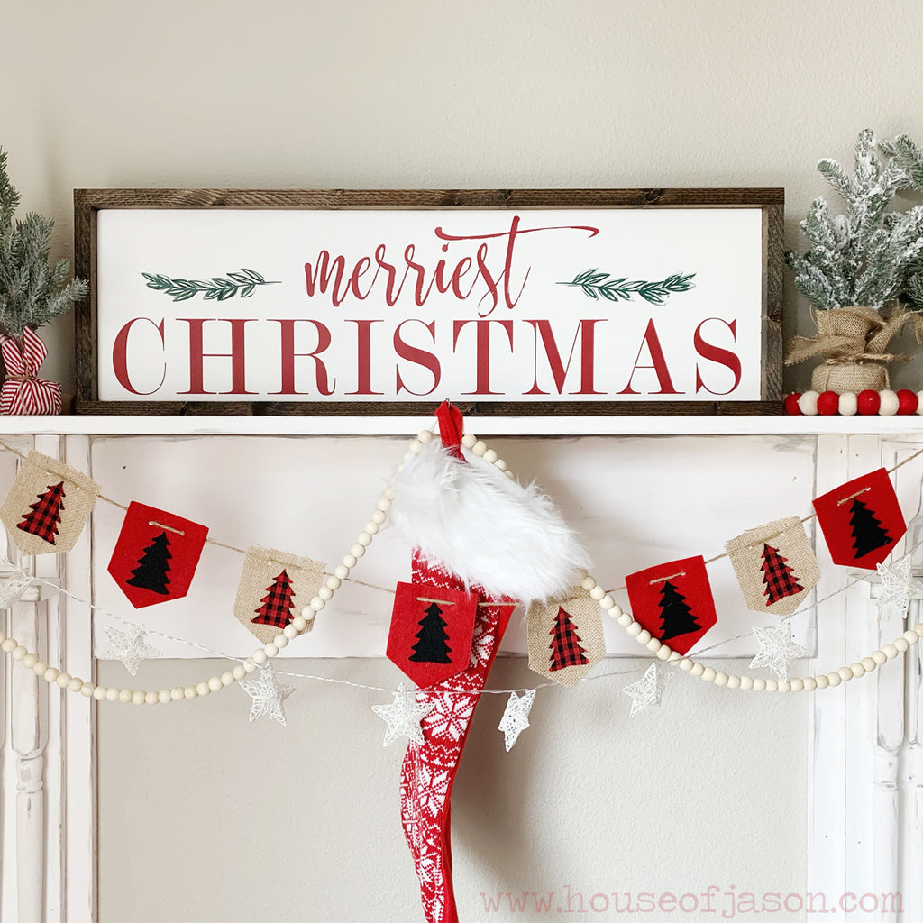 Merriest Christmas, Hand Painted, Green and Red Christmas Wooden Sign