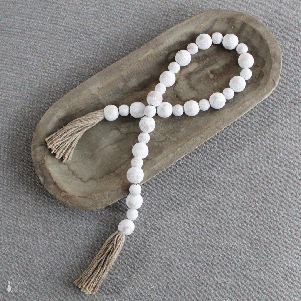 Chalk Painted White Beaded Garland with Tassels