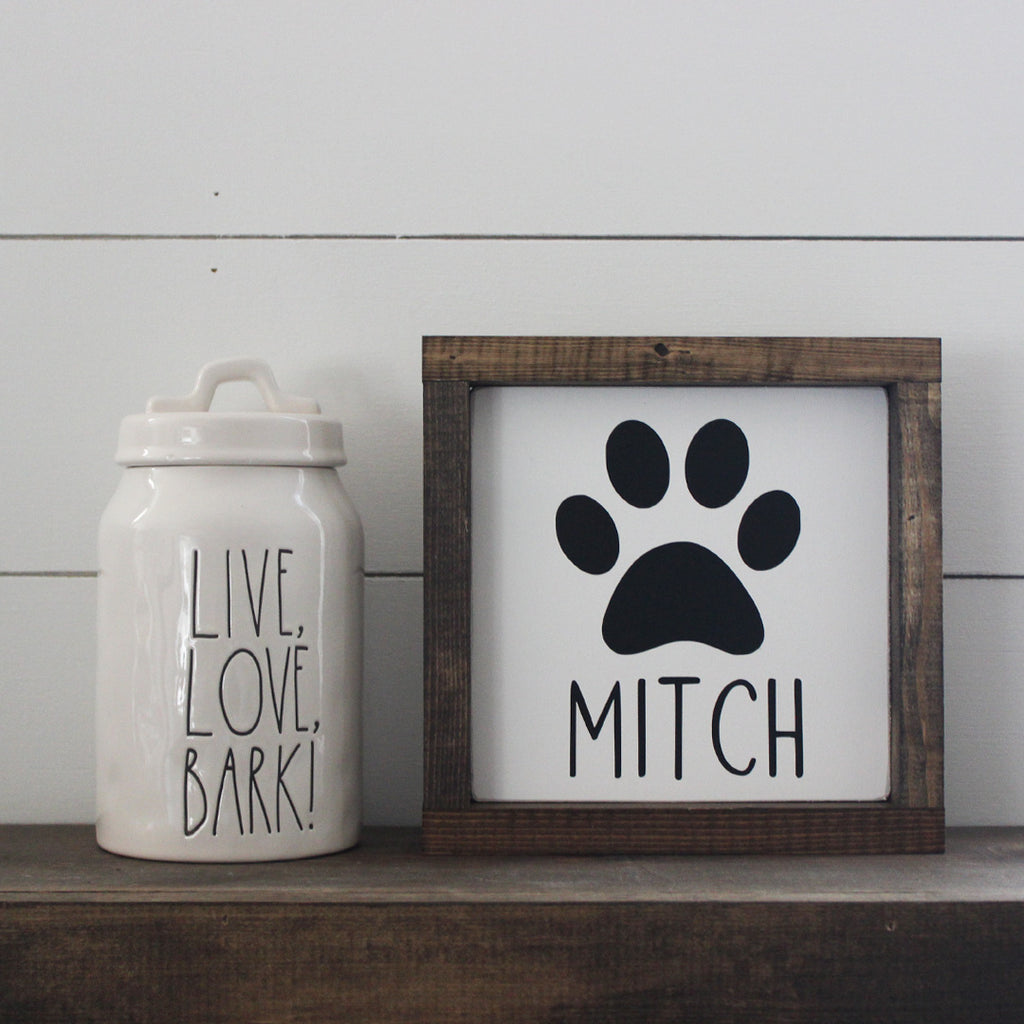 FREE SHIPPING | Custom Dog Name, Paw Print, Hand Painted Wooden Sign | 8 x 8
