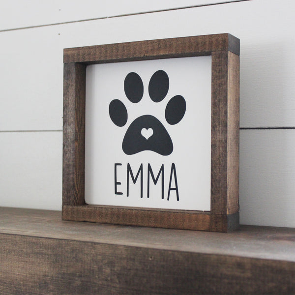 Custom Dog Name, Paw Print, Hand Painted Wooden Sign | 8 x 8