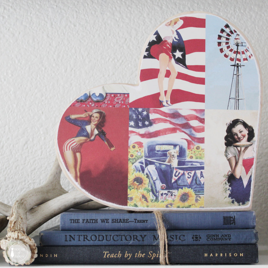 Pin Up, USA Themed, Shelf Sitter Wooden Heart | 9""