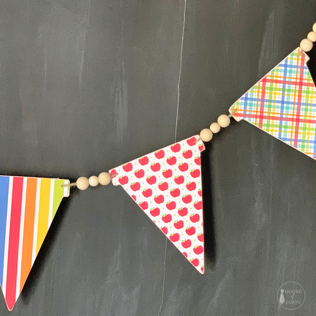 Primary Color and Apple Wooden Banner