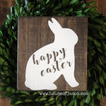 Rustic Happy Easter Wooden Sign | 8 x 8