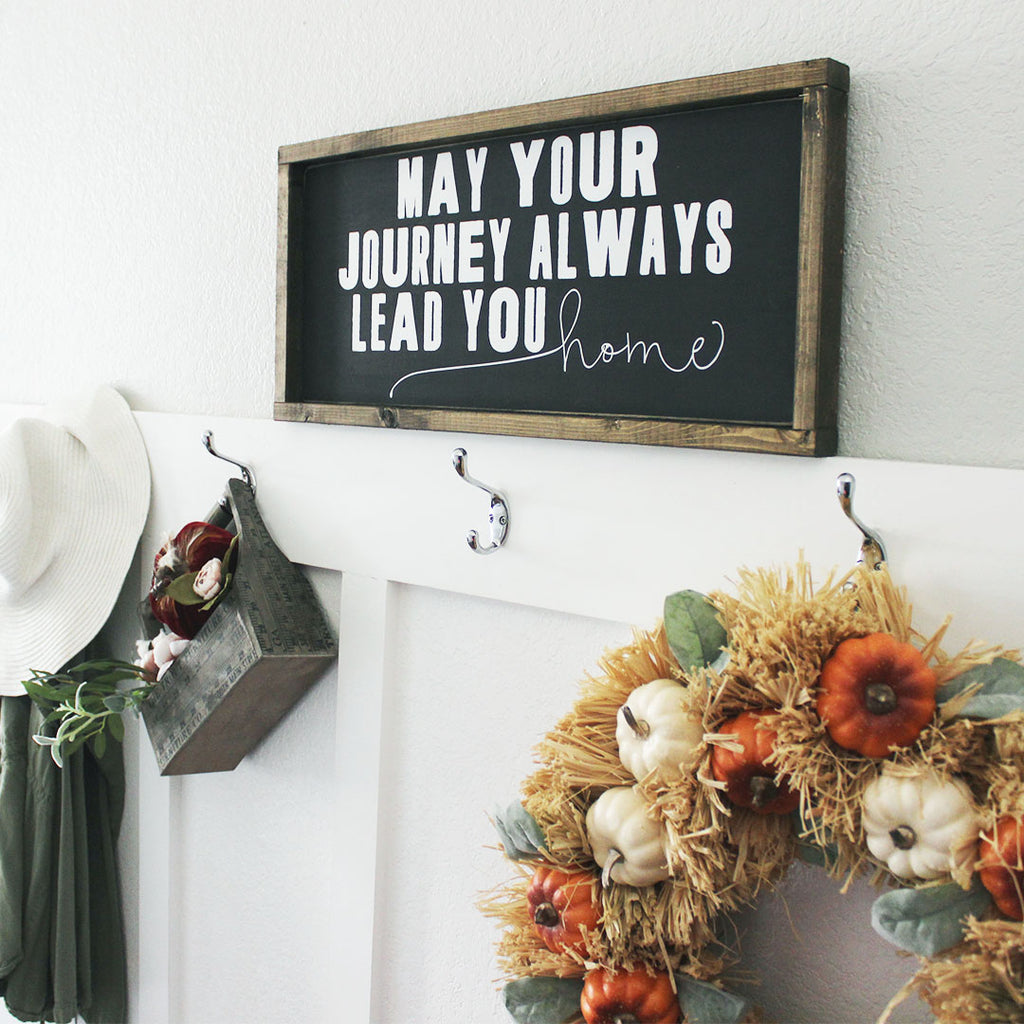 Entry way decor, entry way signs, hooks, fall, may your journey always lead you home, graduation gift, gift for graduate, housewarming present, gift idea, wedding gift, gift for couple, autumn, fall decorations