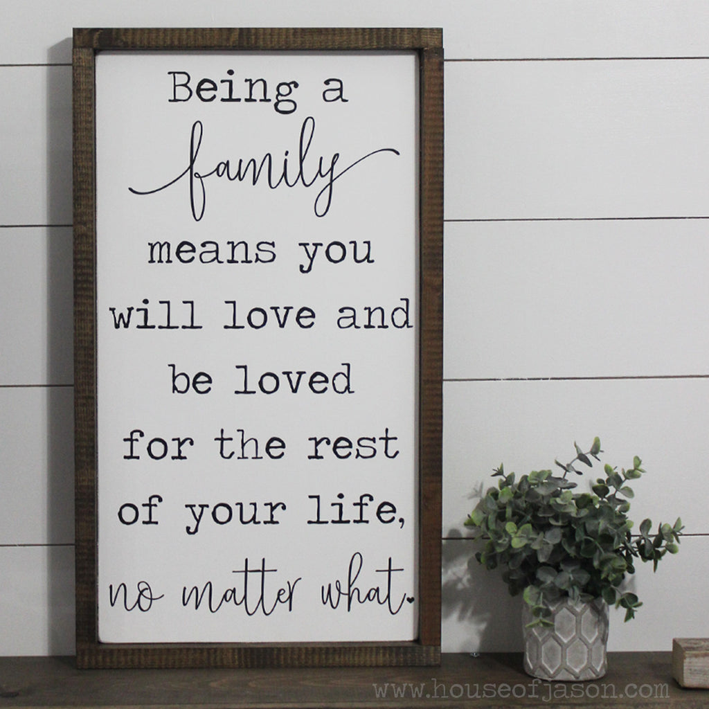 Being a Family Vertical Hand Painted Wooden Sign | 13 x 24