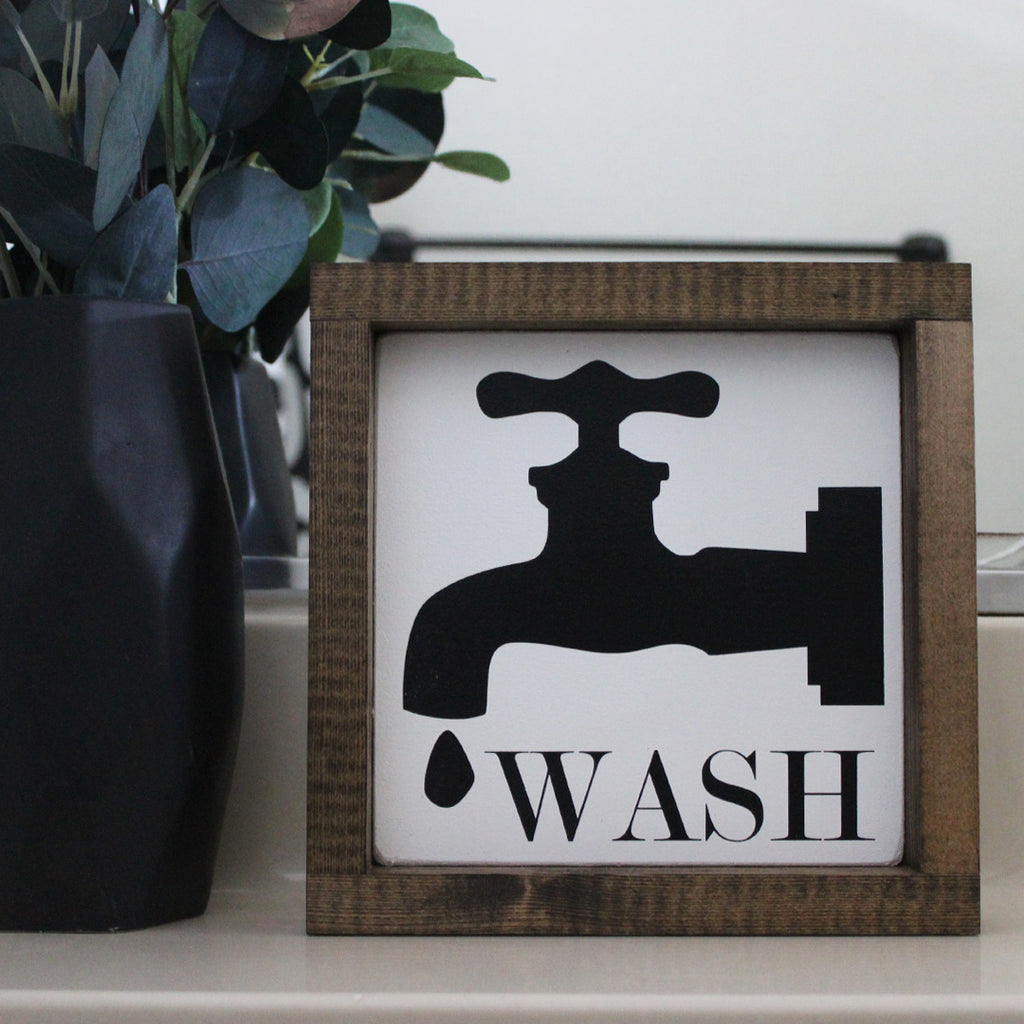 READY TO SHIP | Wash, Farmhouse Style, Faucet, Hand Painted Wooden Sign | 8 x 8