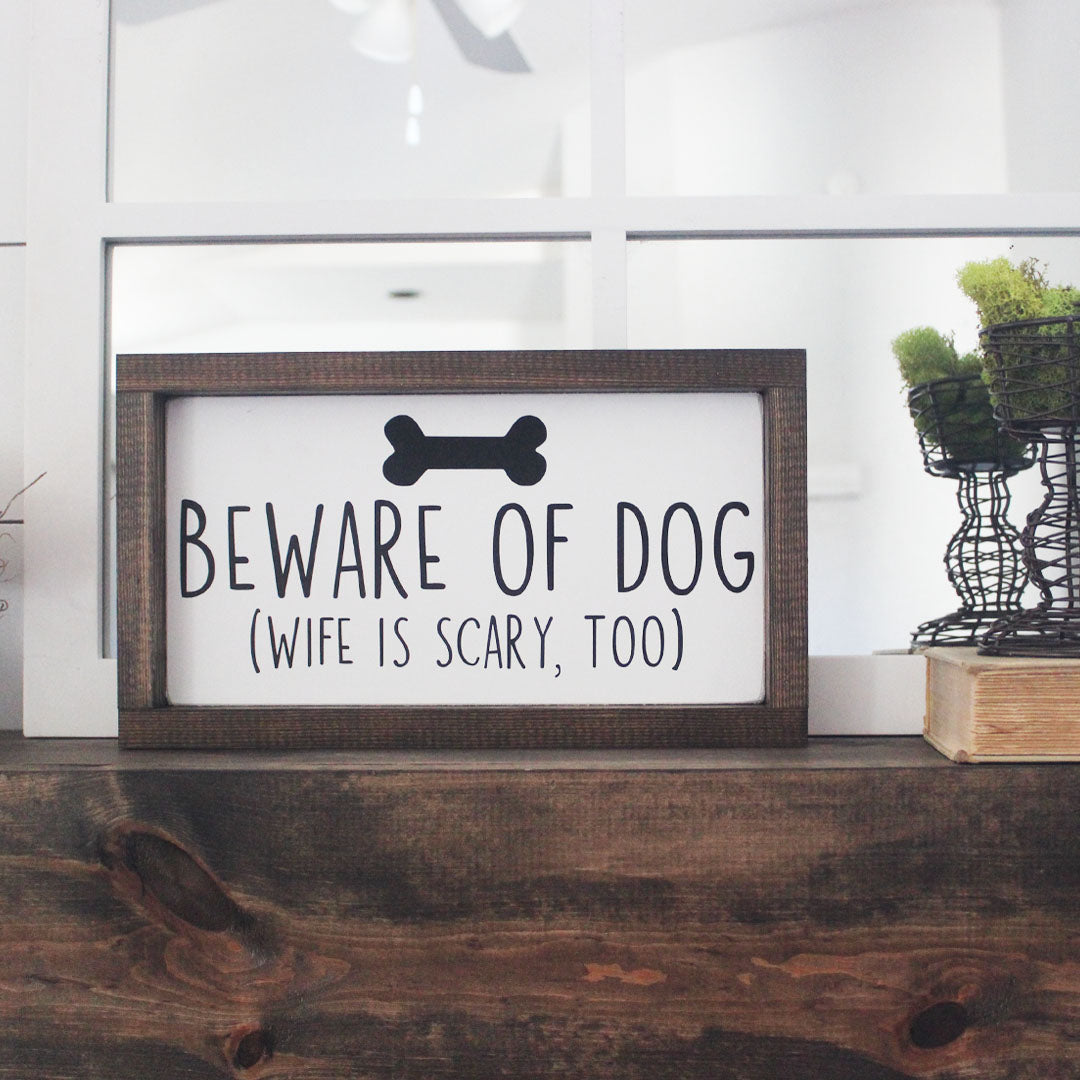 Beware Of Dog Beware Of Wife Hand Painted Funny Wooden Sign 12 X 7