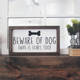 funny wood signs, funny signs, beware of wife, scary wife, mothers day gift idea, gift for mom, gift for wife, gift for finance, engagement gift idea, dog signs, dog mom, dog dad, pet lover sign ideas, no soliciting, funny no soliciting signs, handmade wood signs, porch decor, summer signs, summer decor, porch ideas