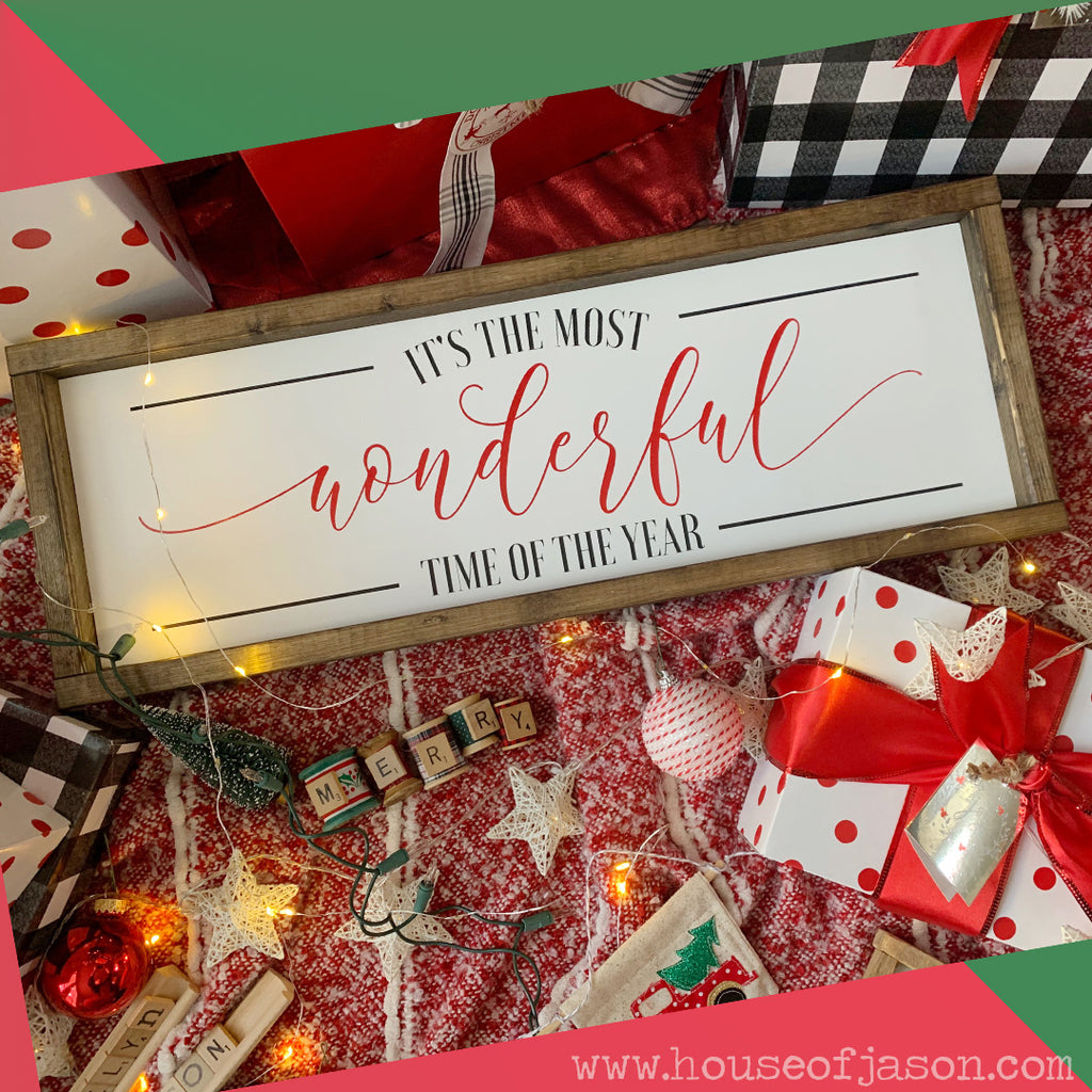 "It's the Most Wonderful Time of the Year Wooden Sign | 24"" x 8"""