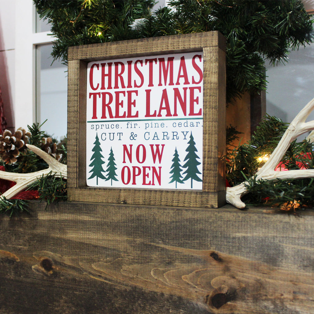 Christmas Tree Lane, Hand Painted Wooden Sign | 8 x 8