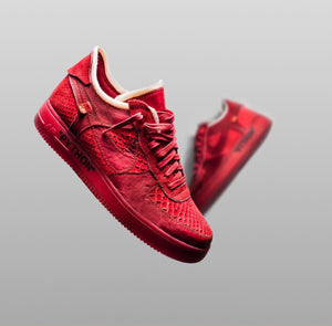 83d0fc1c6c3 Custom Blood Red Python OFF-WHITE x Nike Air Force 1 by The Shoe Surgeon