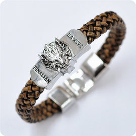 Men's Leather Bracelet with Silver Plated Charm