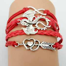 Leather Bracelet Antique Silver Plated Dragon Charm (Multiple Colours and Styles)