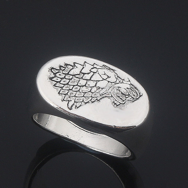 Silver Plated Engarved Direwolf Ring