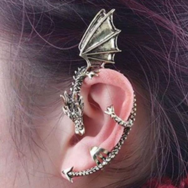 Metal Dragon Bite Ear Cuff Clip Wrap