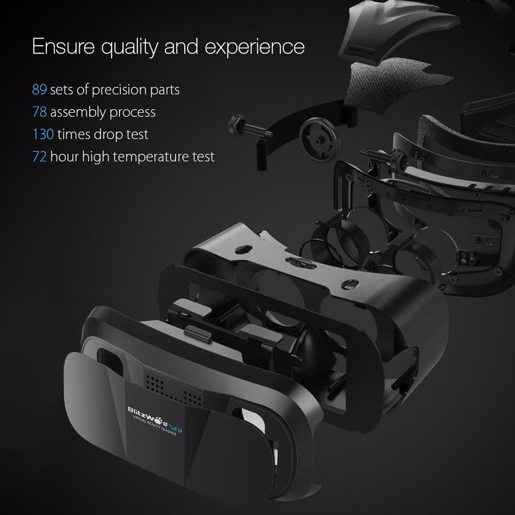 61175c08fb45 Vr Headset with Remote Controller Goggles 3d Glasses Virtual Reality Headset  for iphone 6 7 Plus Samsung Android Games Movies Compatible with 3.5-6.3  inch ...