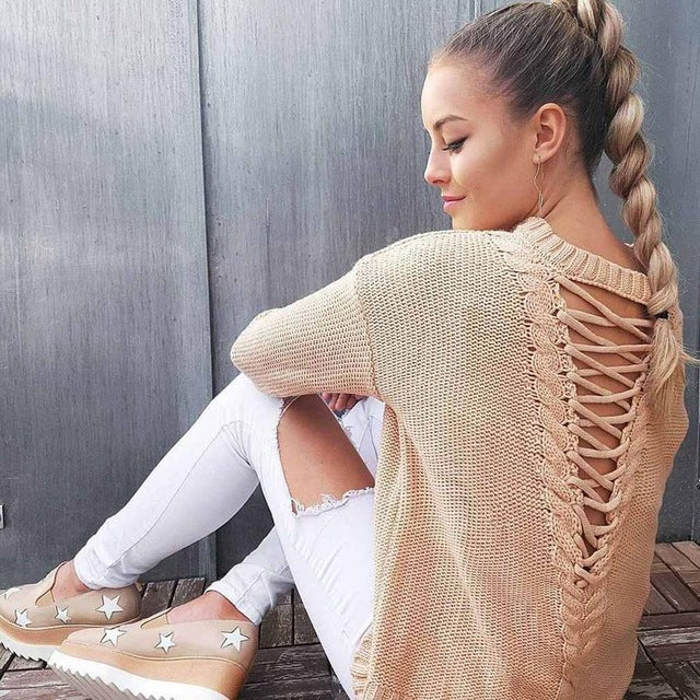 Sexy backless knitting pullover fashion bandage autumn winter sweater women  tops casual hollow out jumper pull femme