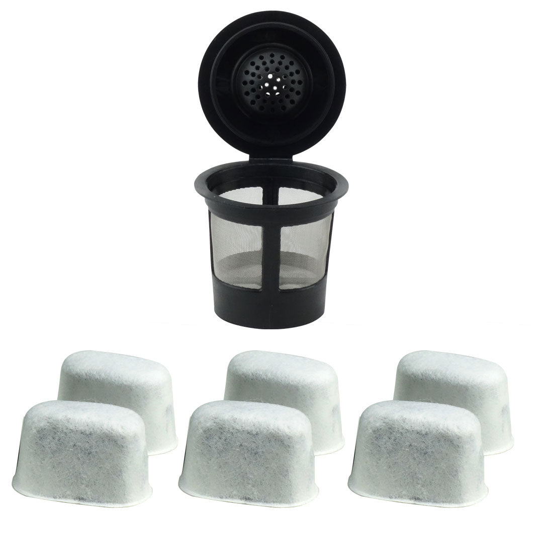 1 Keurig Reusable Single K-Cup Solo Coffee Filter Pods and 6 Charcoal Water Filter Cartridges