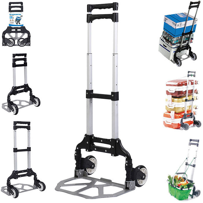 4f3e147791f9 Felji 170lbs Cart Folding Dolly Push Truck Hand Collapsible Trolley Luggage  Aluminium