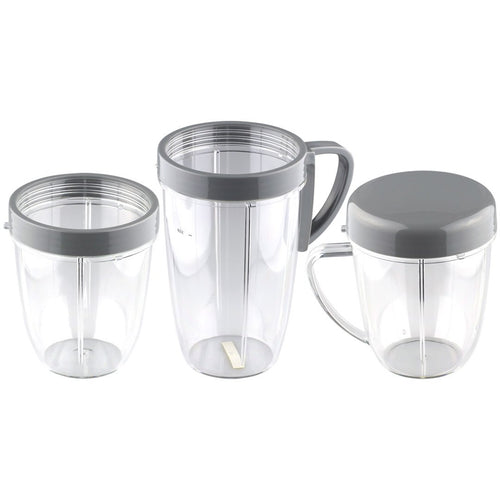 18 oz & 24 oz Cups + 2 Lip Rings and Stay Fresh Lid Combo for NutriBullet NB-101