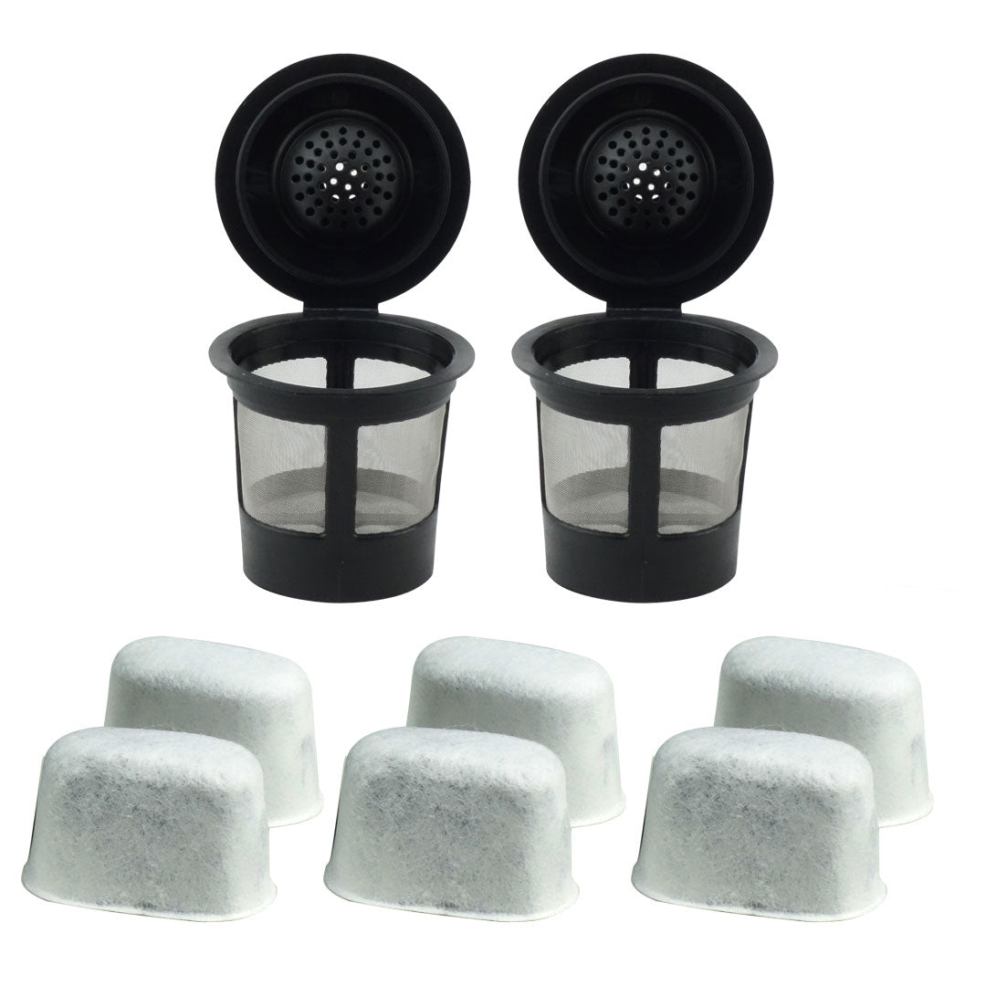 2 Keurig Reusable Single K-Cup Solo Coffee Filter Pods and 6 Charcoal Water Filter Cartridges