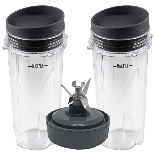 2 Nutri Ninja 16oz Cups with Lids and 1 Extractor Blade Model 303KKU 305KKU 307KKU for BL660 BL663 BL663CO BL665Q BL740 BL780 BL810 BL820 BL830