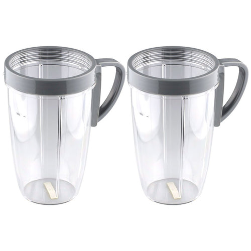 2 NutriBullet 24 oz Tall Cups with Handled Lip Ring