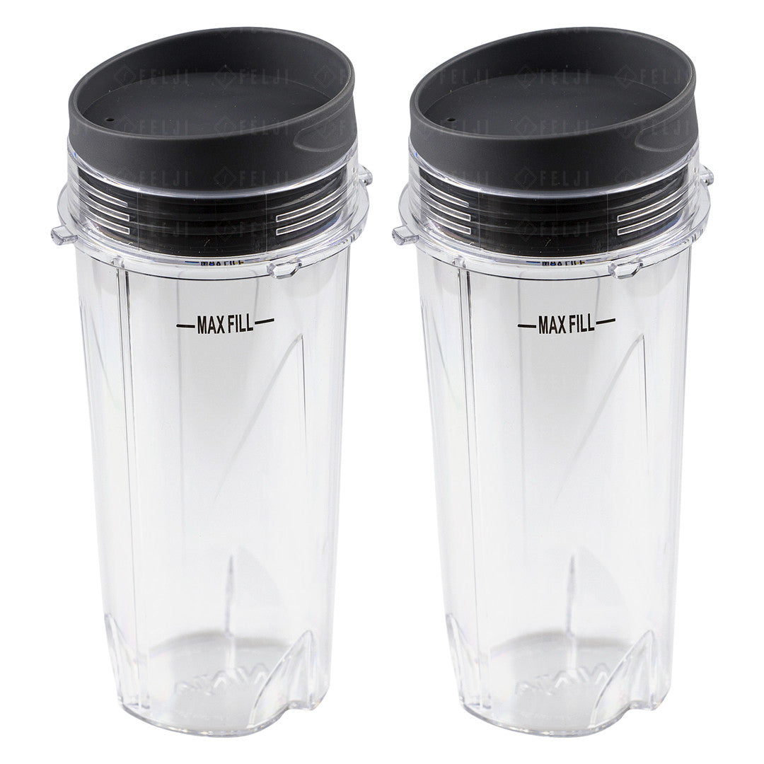 2 Nutri Ninja 16 oz Cups with To-Go Lids Replacement Model 303KKU 305KKU