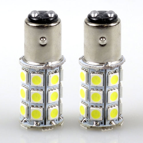 Felji 2X Xenon White BA15D 5050 27 SMD For Boat Marine RV Car LED Light Bulb 1142 1076