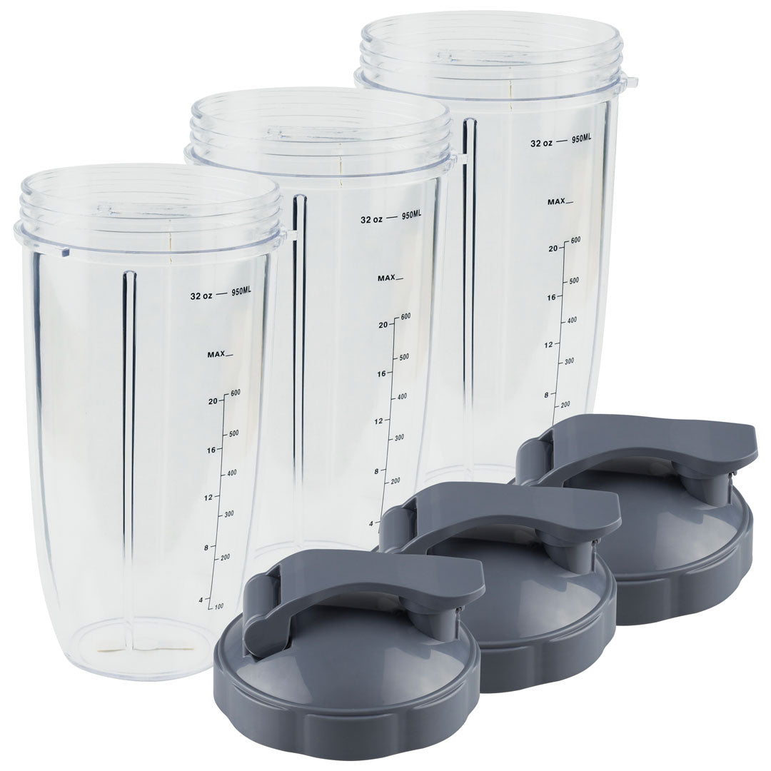 3 Pack NutriBullet 32 oz Colossal Cups with Measurement and Flip To-Go Lids NB-101s