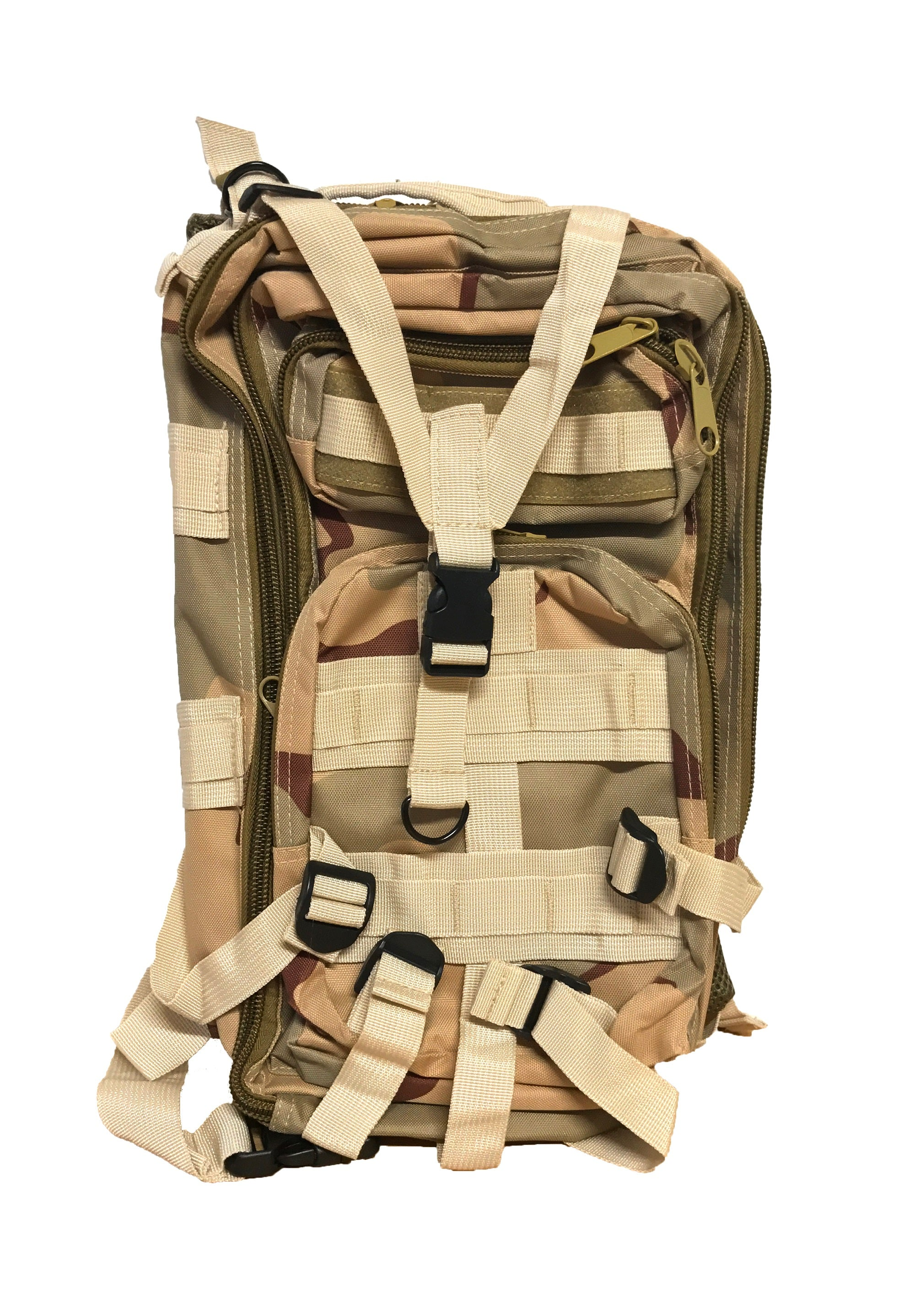 30L Military Molle Camping Backpack Tactical Hiking Travel Bag Three-Toned Desert