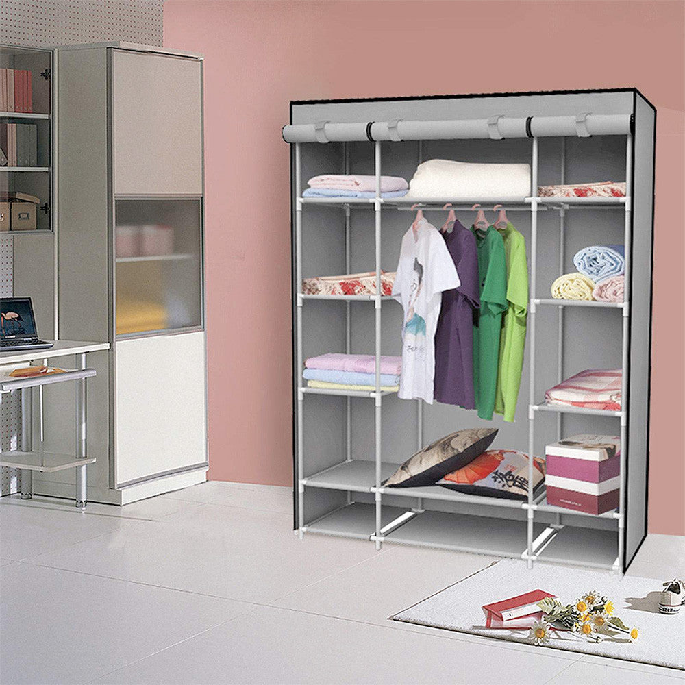 Beautiful Felji 53u201d Portable Closet Storage Organizer Wardrobe Clothes Rack With  Shelves Grey