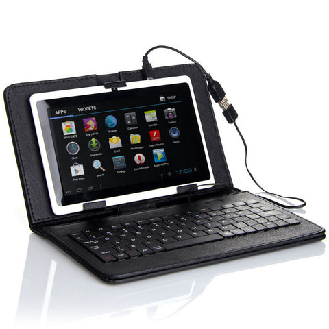 Felji Black Stand Leather Case Cover for Android Tablet 7-Inch Universal w/ USB Keyboard