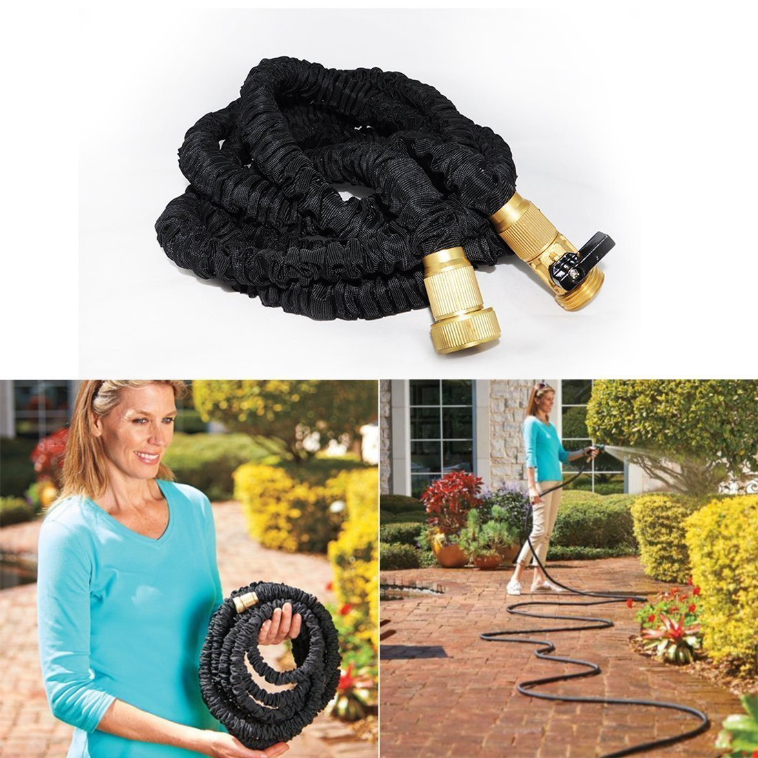 Felji 25 ft Expanding Garden Hose in Black with Solid Brass Fitting