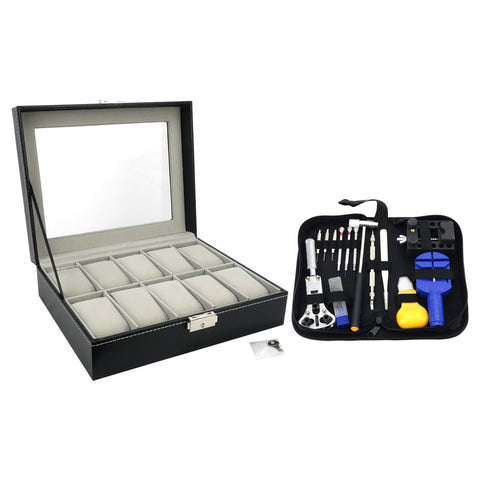 Felji 24-Slot Mens XL Watch Box Leather Display Case Organizer Black and 16-Piece Watch Tool Kit Combo