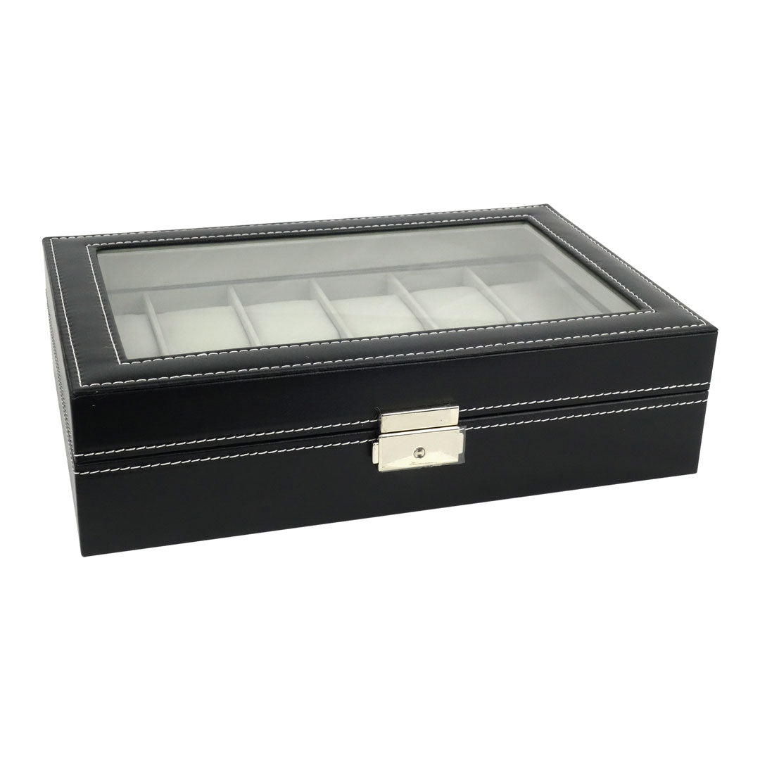 Felji 12 Slot Watch Box Black Leather Display Glass Top Jewelry Case Organizer + Lock