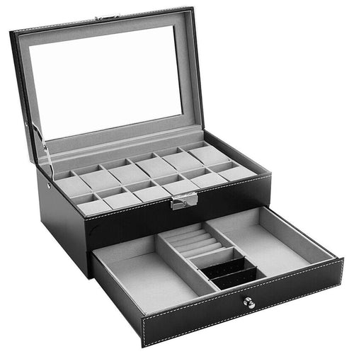 Felji 12 Slot Leather Watch Display Box with Jewelry Drawer and Lock
