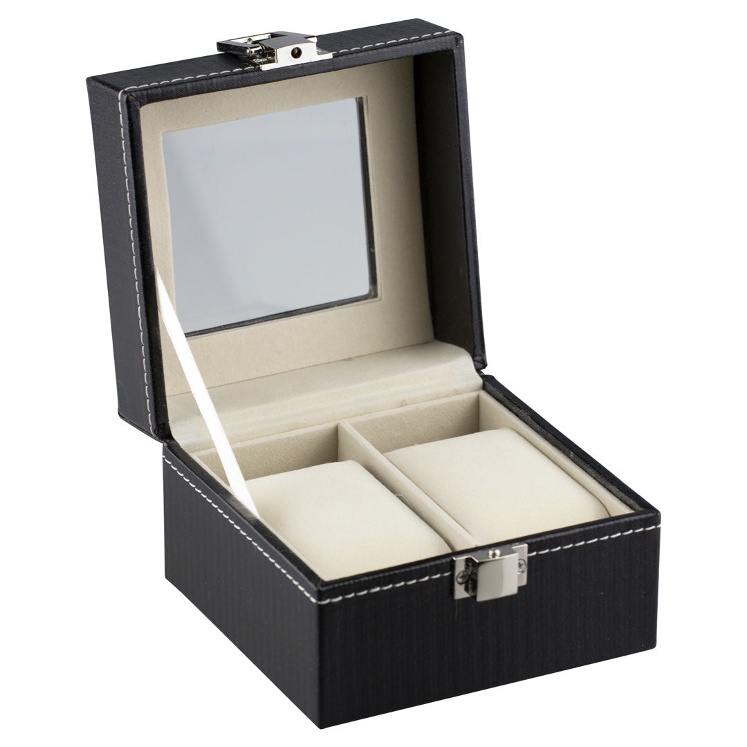 Felji 2-Slot Mens Watch Box Leather Display Case Organizer Black