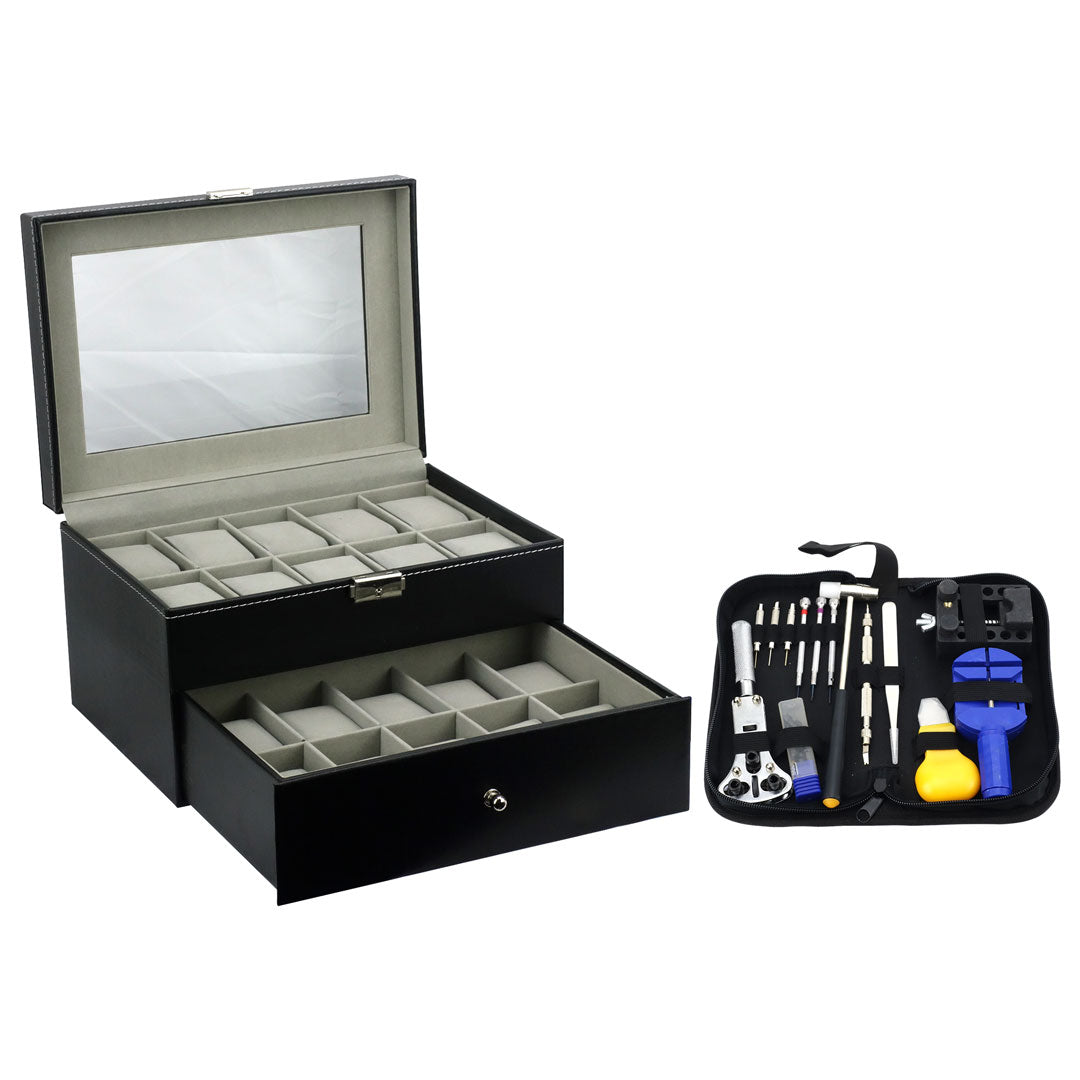Felji 20-Slot Mens Watch Box Leather Display Case Organizer Black and Watch Repair Tool Kit with Case