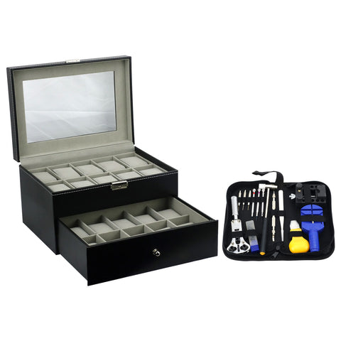 Felji 6-Slot Mens Watch Box Leather Display Case Organizer Black and Watch Repair Tool Kit with Case