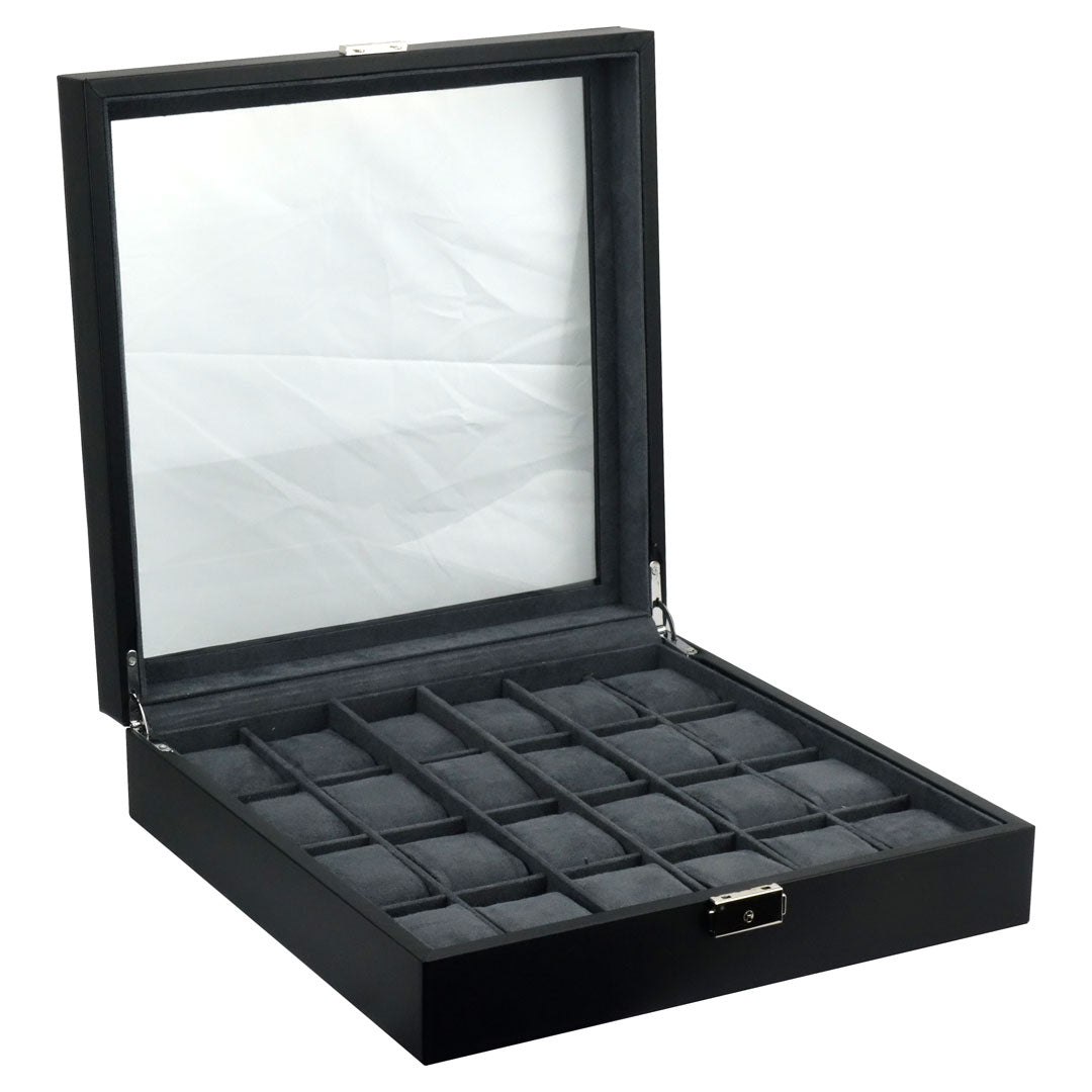 Felji 24-Slot Mens XL Watch Box Leather Display Case Organizer Black